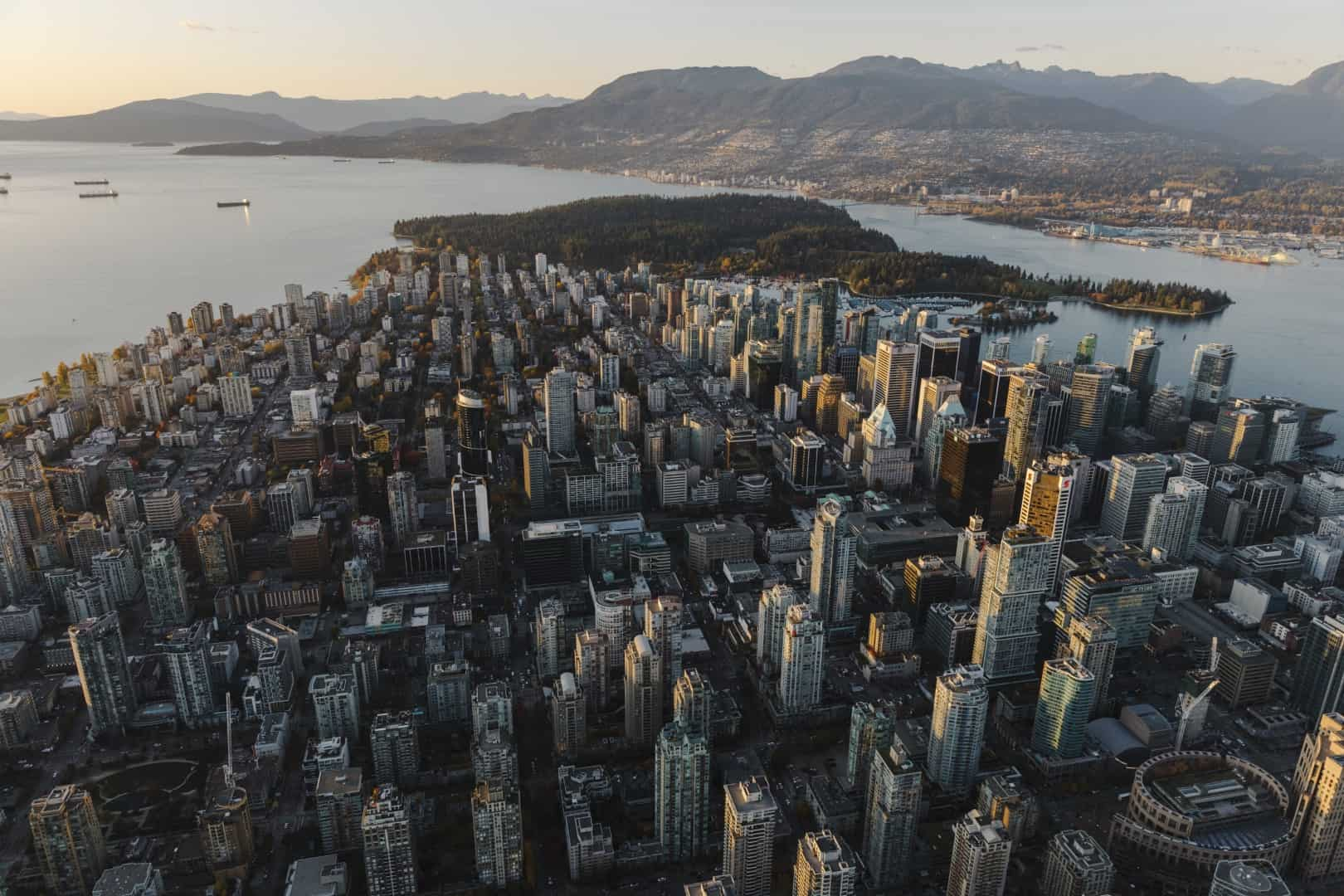 Aerial view of downtown Vancouver, BC