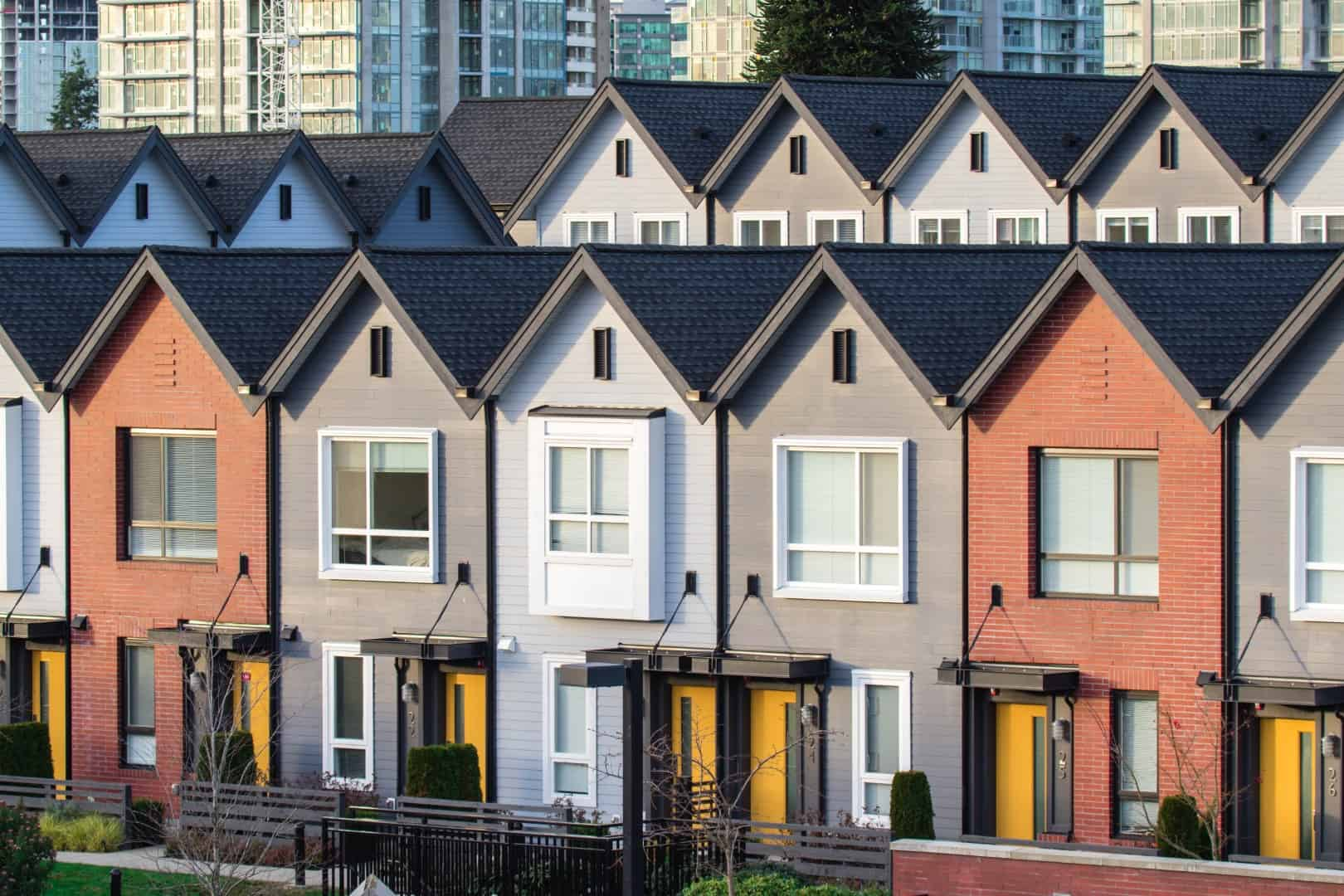 Row of townhouses in Vancouver
